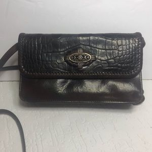 Vintage Brighton crock brown leather Crossbody bag
